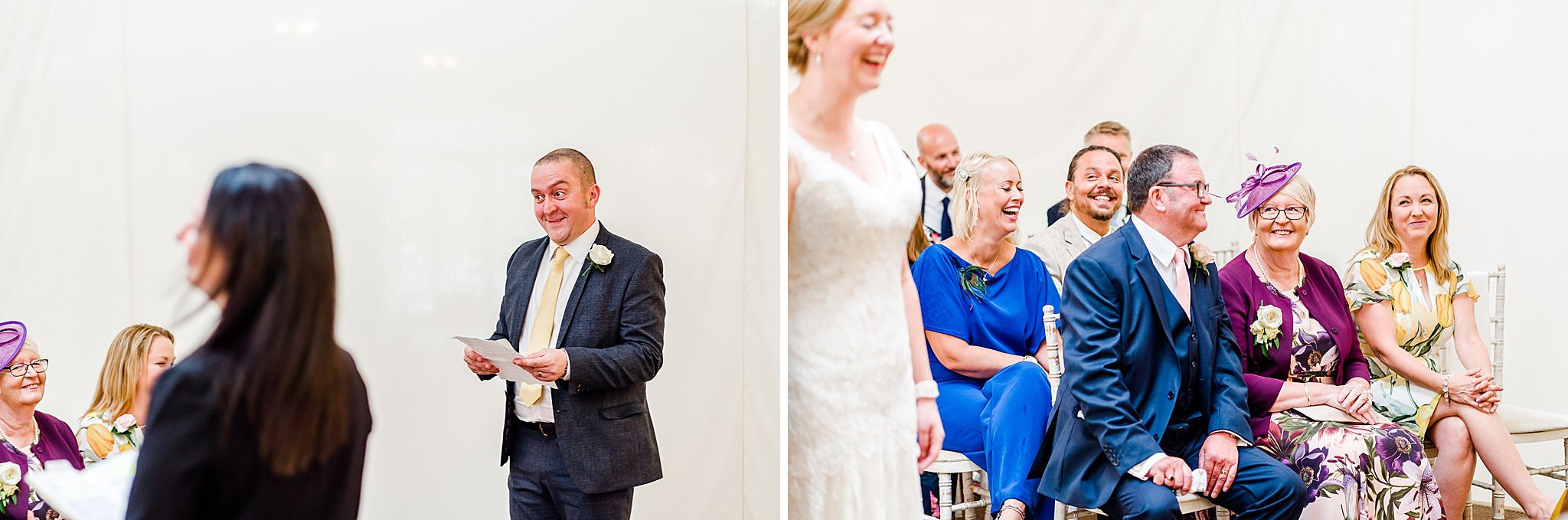Bride's brother gives funny reading during the wedding ceremony at Newton House Barns