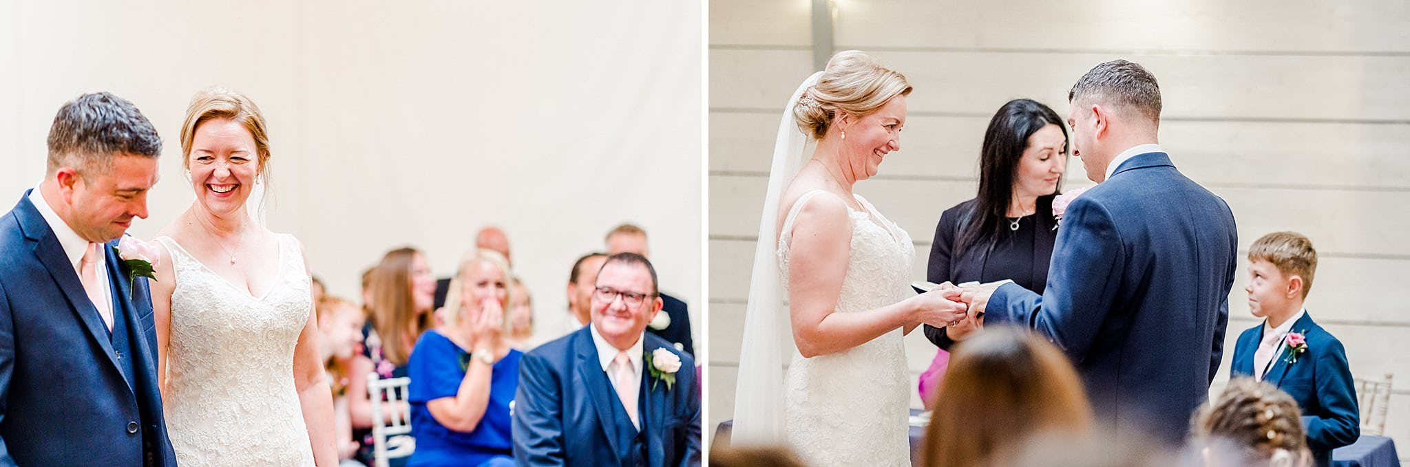Bride and groom exchange ring during their wedding ceremony at Newton House Barns