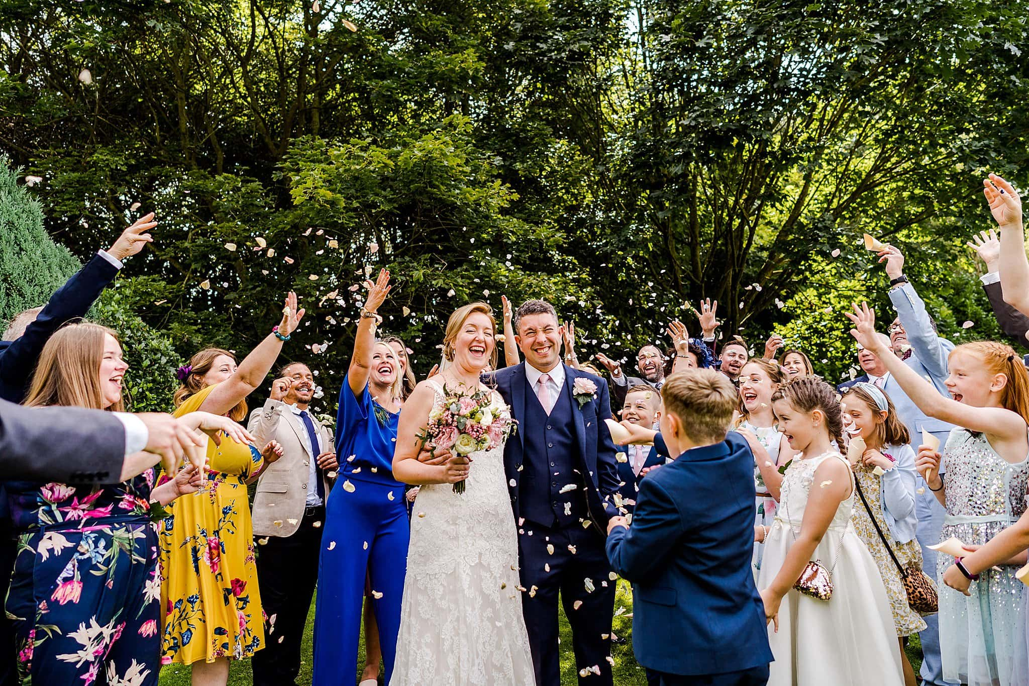 Lots and lots of confetti at Newton House Barns