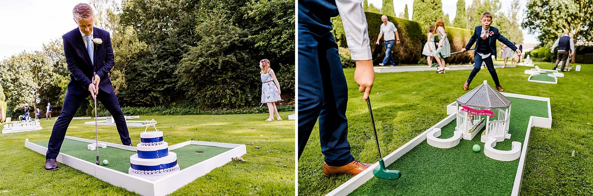 Wedding guests all play on miniature golf course at Newton House Barns