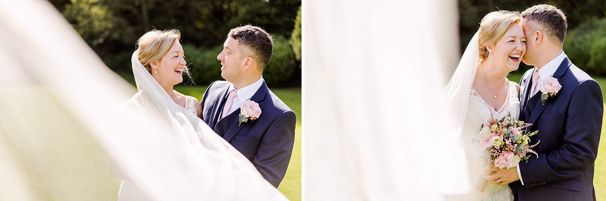Groom whispers in brides ear during their couples shoot at Newton House Barns