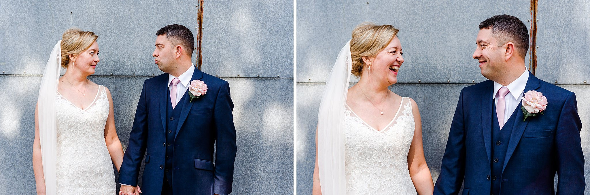 Bride and groom pull faces at each other at Newton House Barns