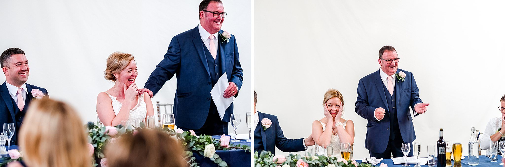 Bride's father embarrassing the bride during his speech at Newton House Barns