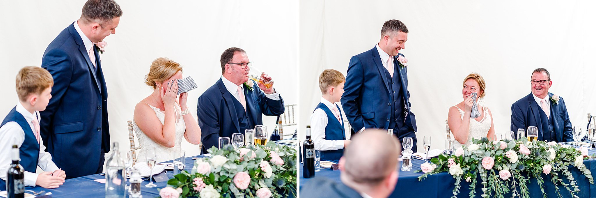 Bride crying at speech given by groom and his son at Newton House Barns
