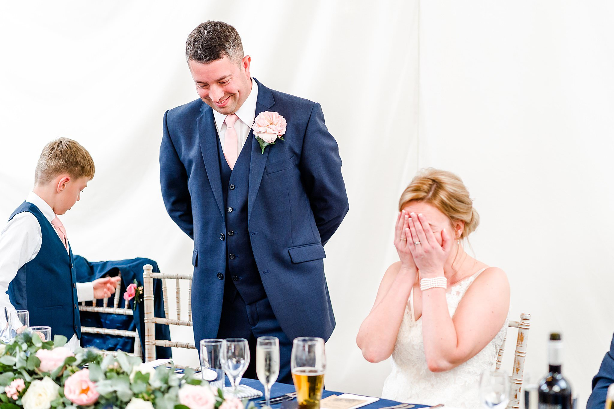 Bride crying during speech at Newton House Barns