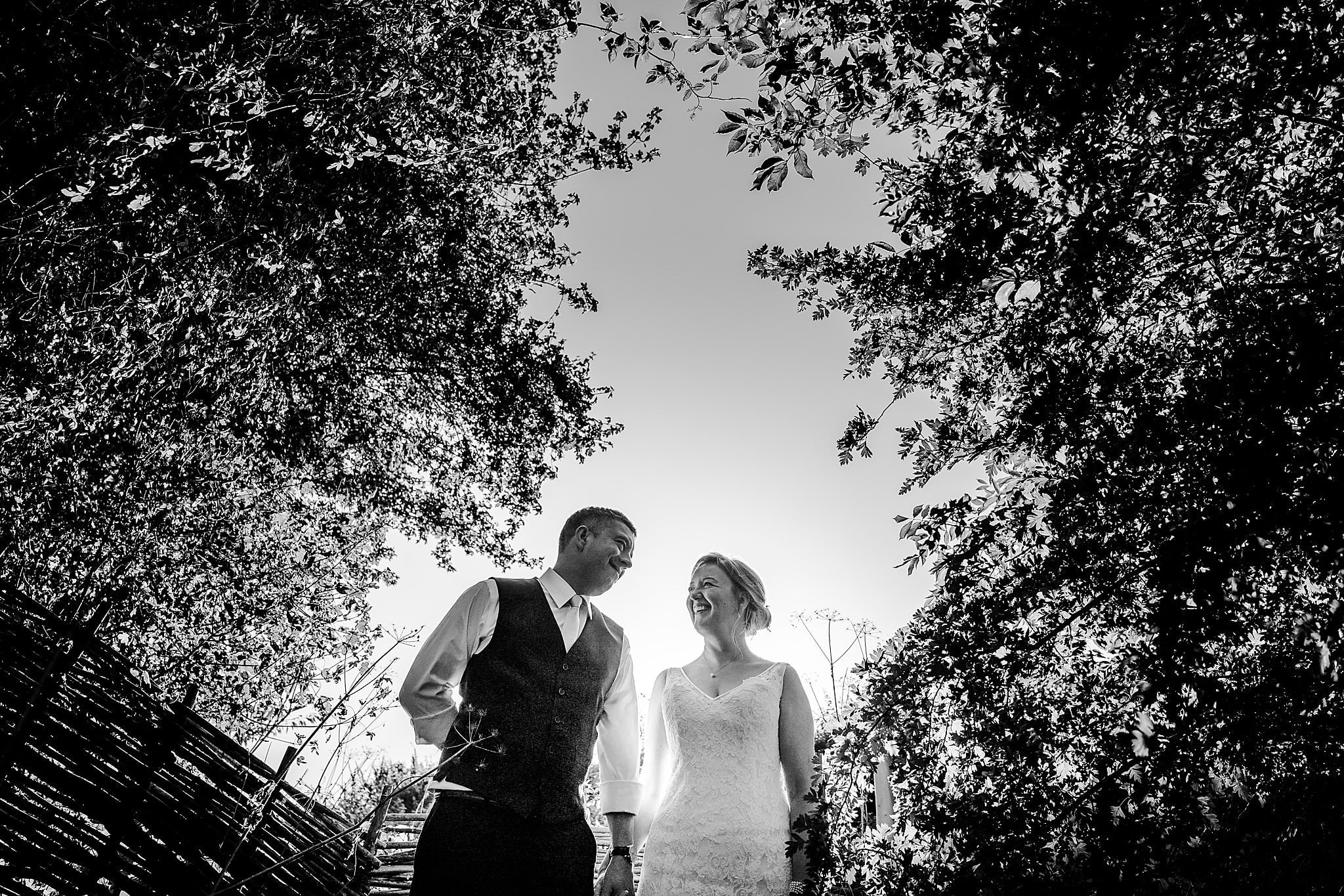 Black & white of bride and groom at Newton House Barns