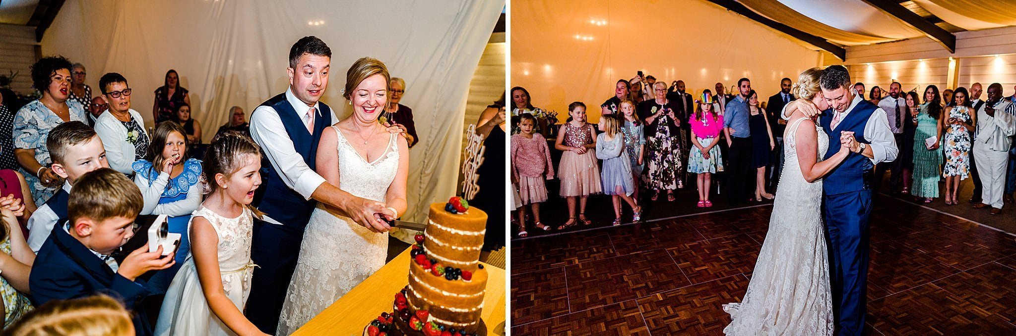 Bride and groom cut their cake and do their first dance at Newton House Barns