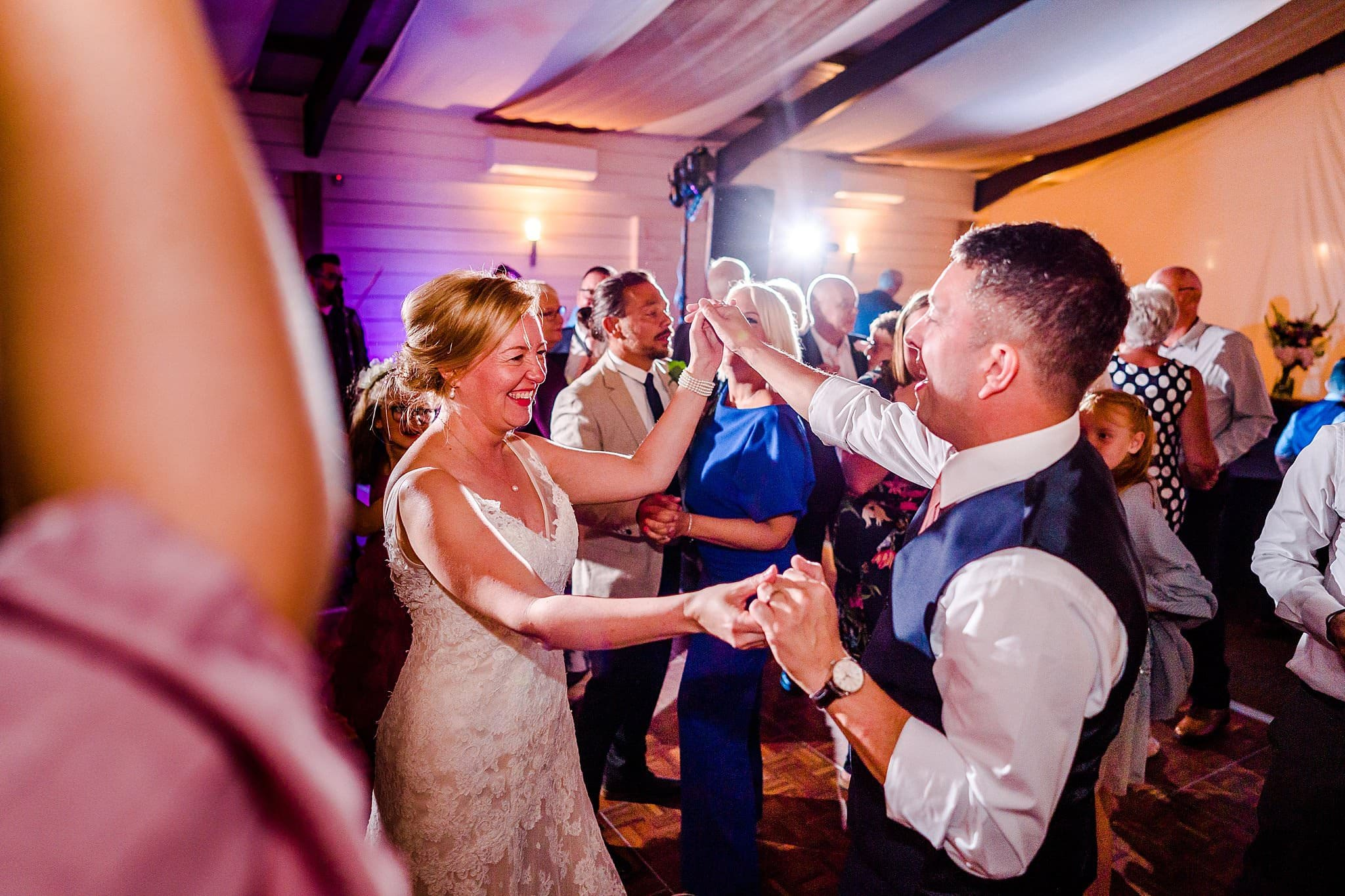 Everyone joins the bride and groom on the dance floor at Newton House Barns