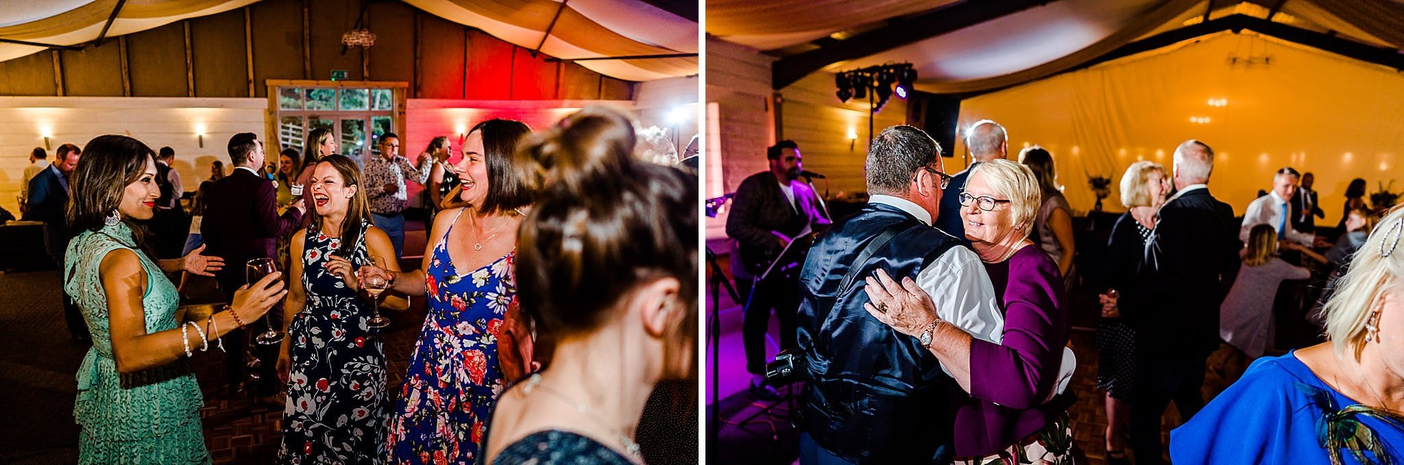 Wedding guests dancing at Newton House Barns