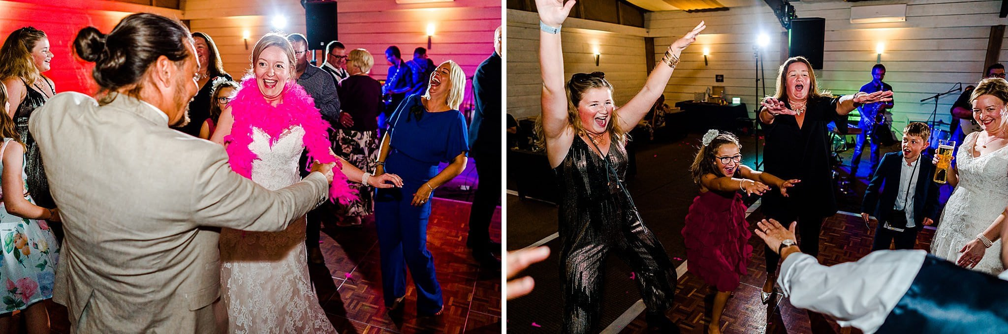 Wedding guests really enjoying themselves dancing at Newton House Barns