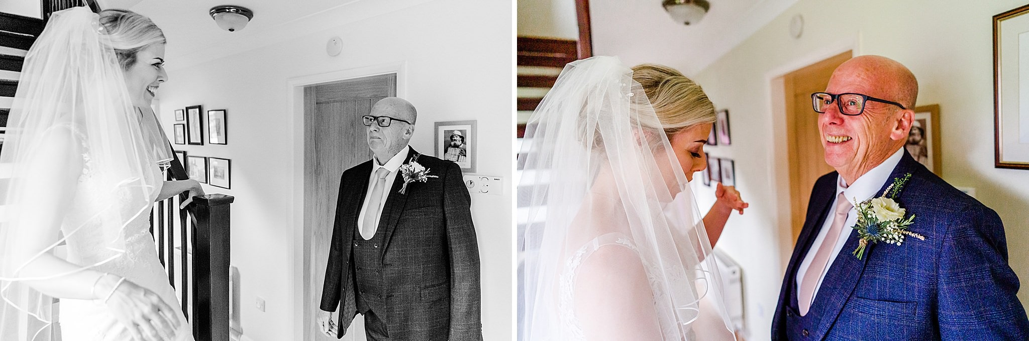 Bride's dad has a tear in his eye when he sees the bride in her dress
