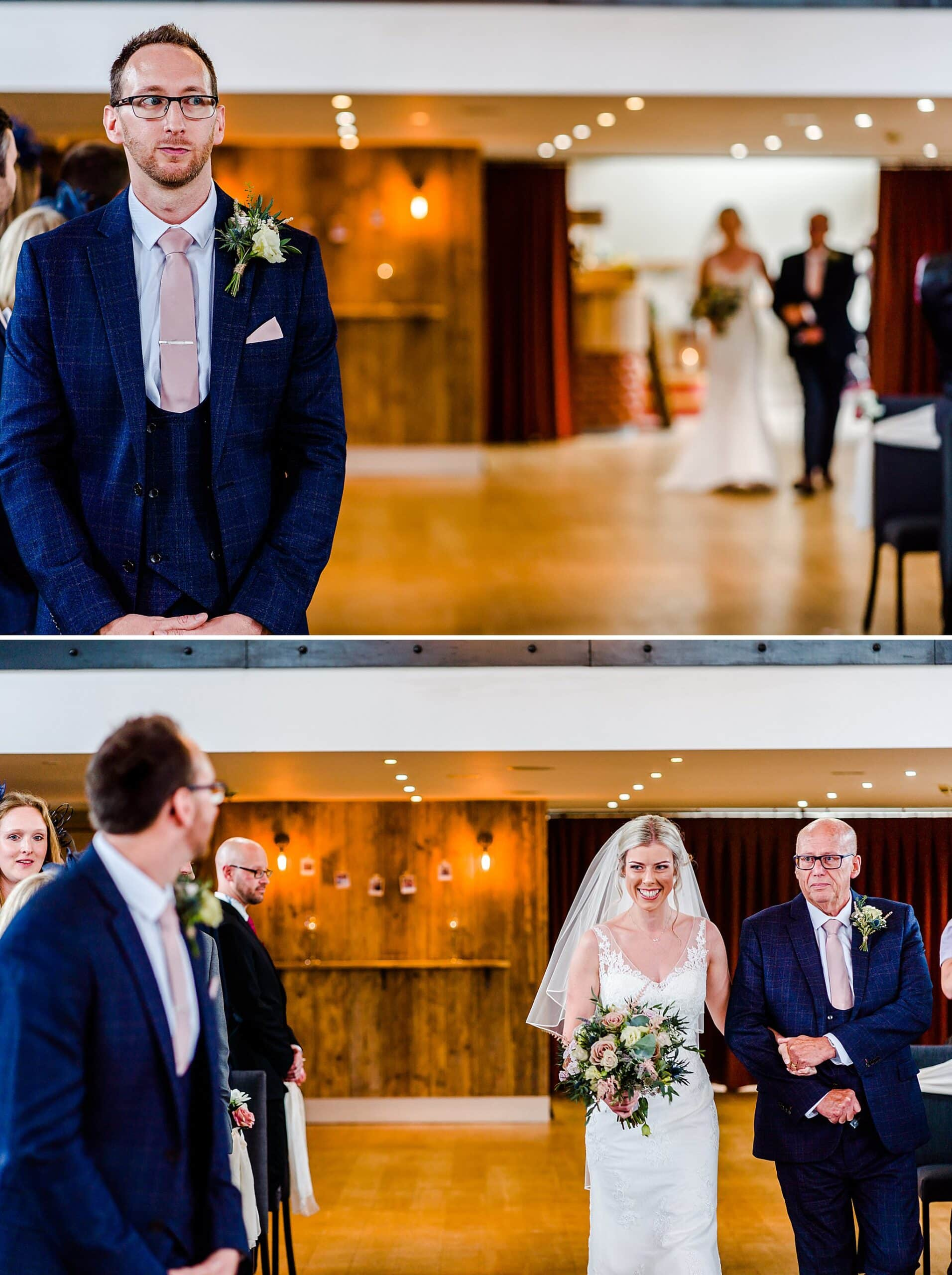 Groom watches bride walk down the aisle with her dad at Carriage Hall