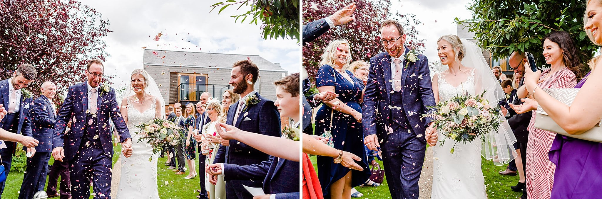 Bride and groom walk through confetti at Carriage Hall