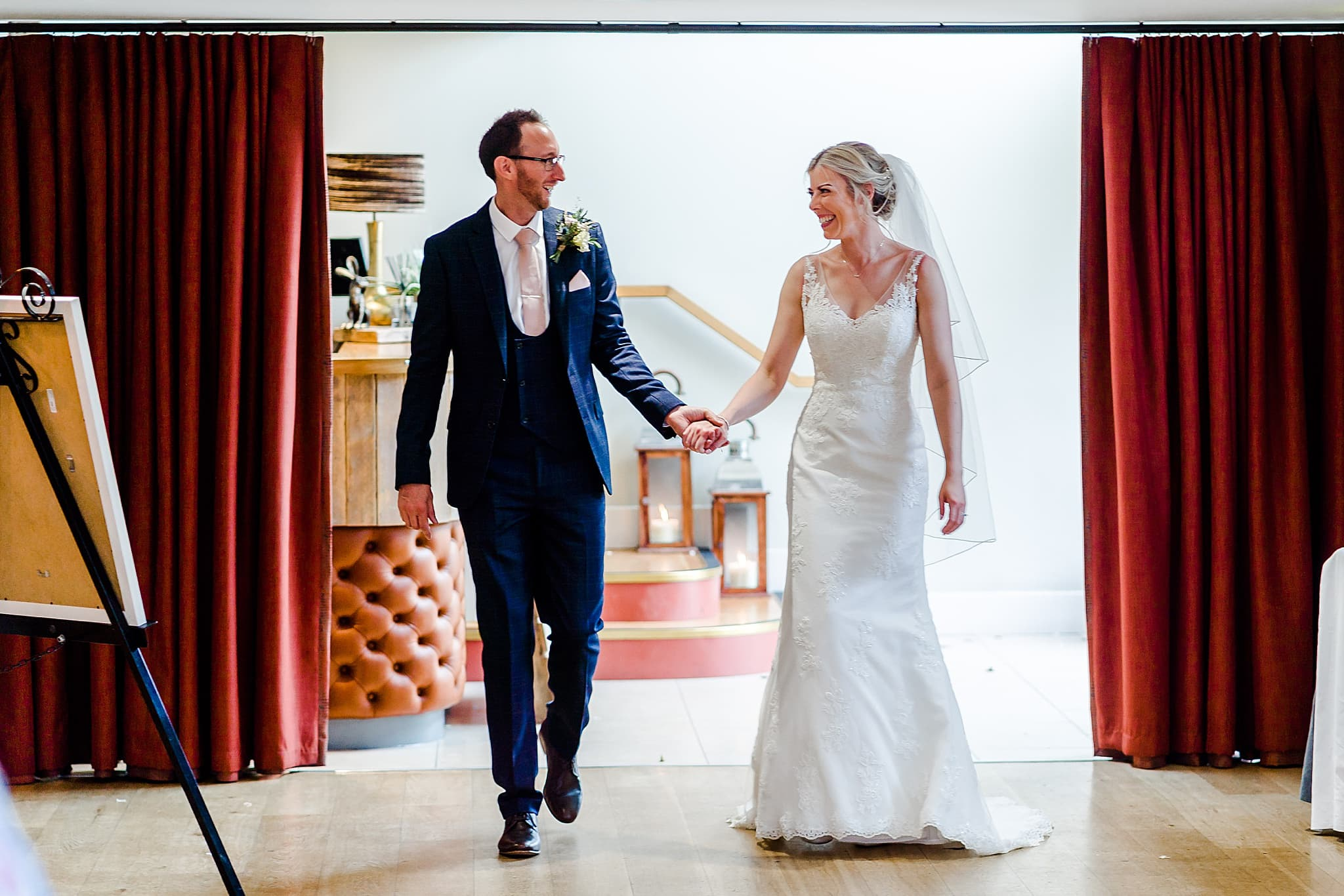 Bride and groom announced in to the room at Carriage Hall