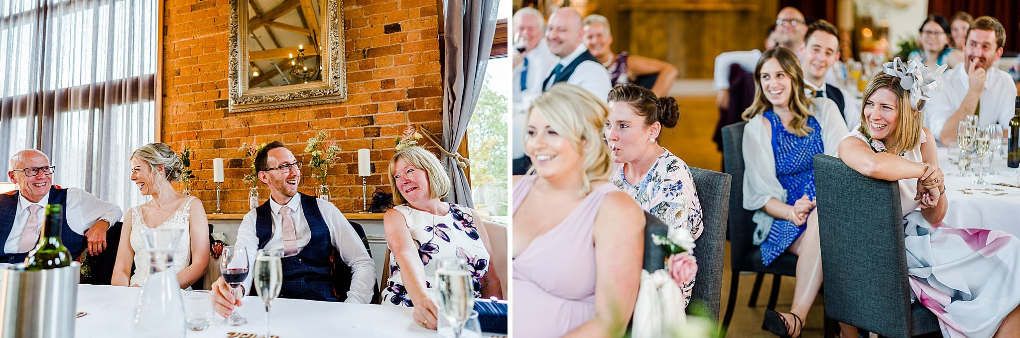 Wedding guests enjoying the wedding speeches at Carriage Hall
