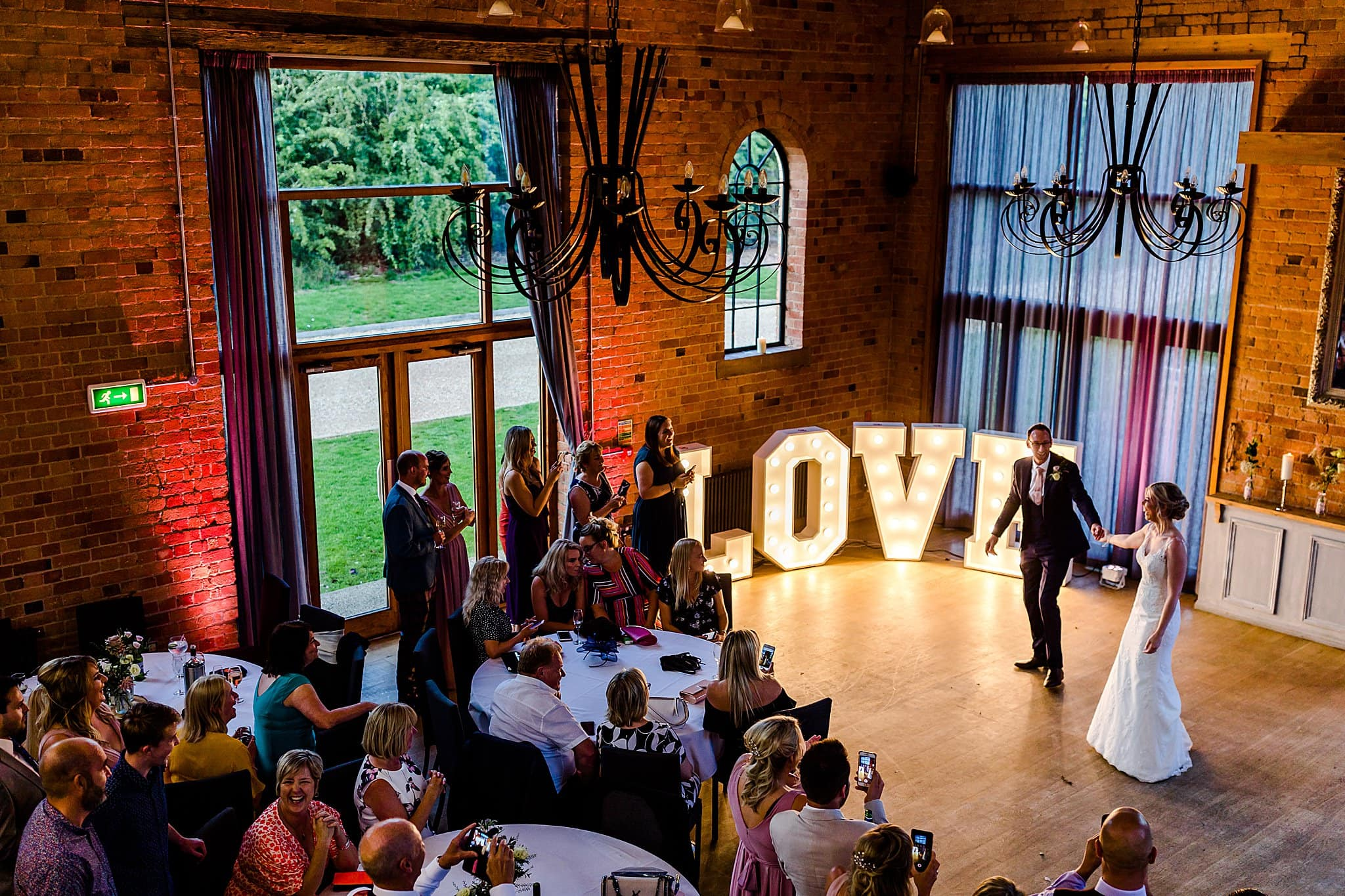 View from the balcony at Carriage Hall of the bride and groom performing their first dance