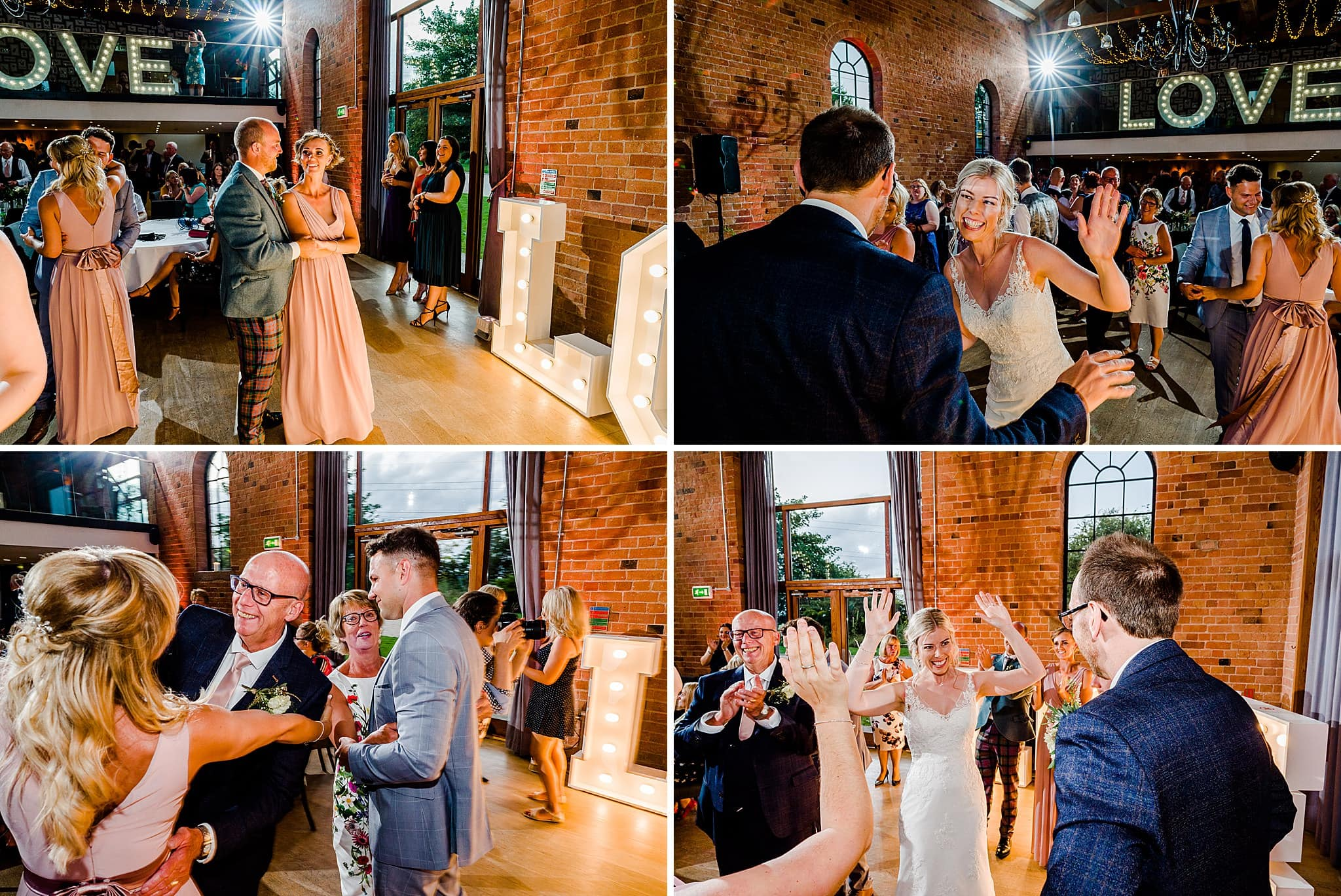 Guests join the bride and groom on the dancefloor at Carriage Hall