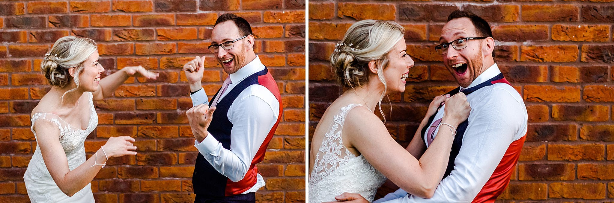 Bride and groom pull silly faces outside Carriage Hall