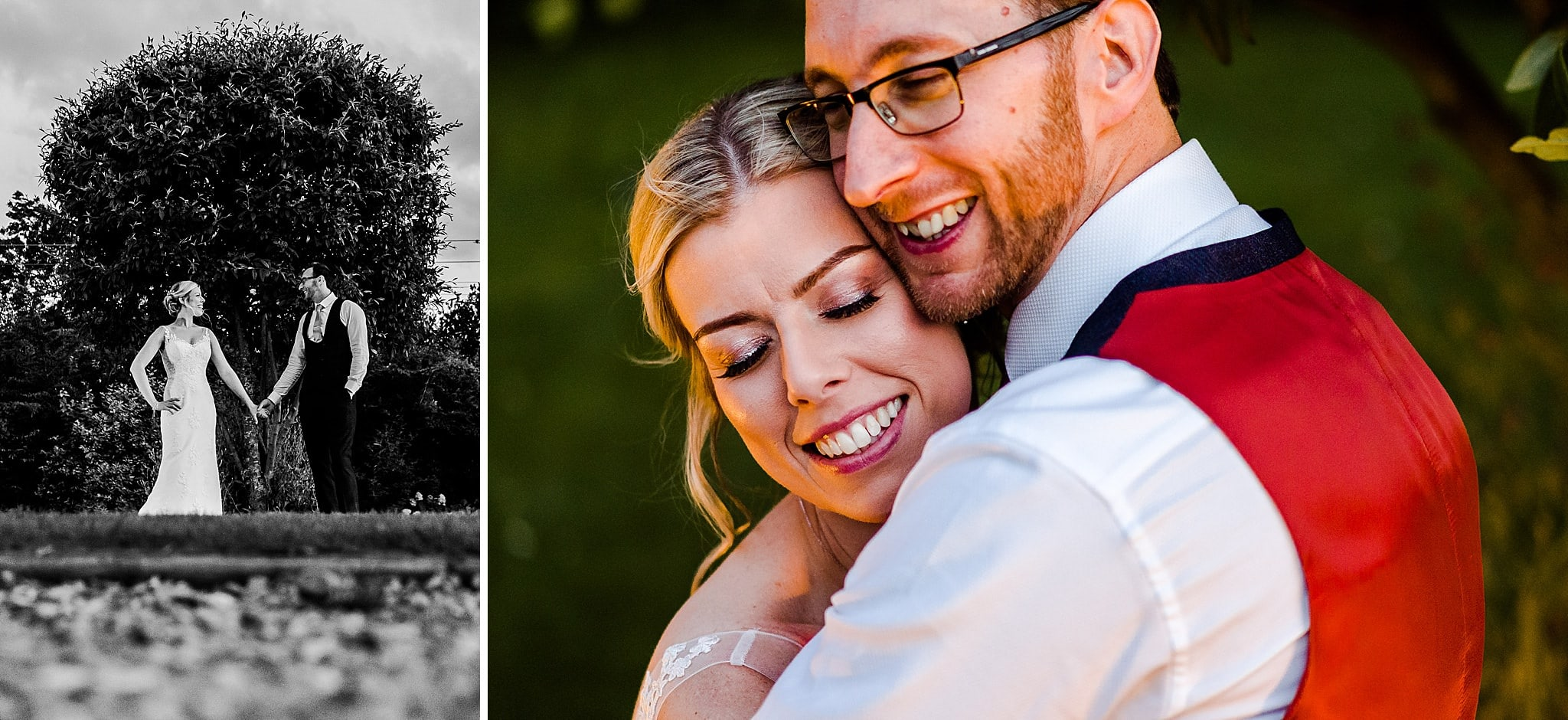 Bride and groom pose in front of tree at Carriage Hall
