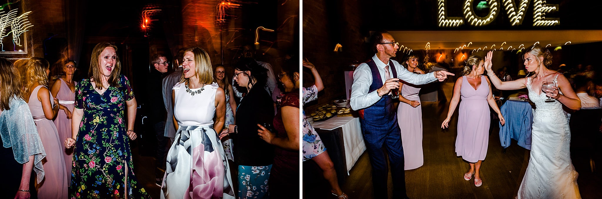 Bride and groom dance with their guests at Carriage Hall