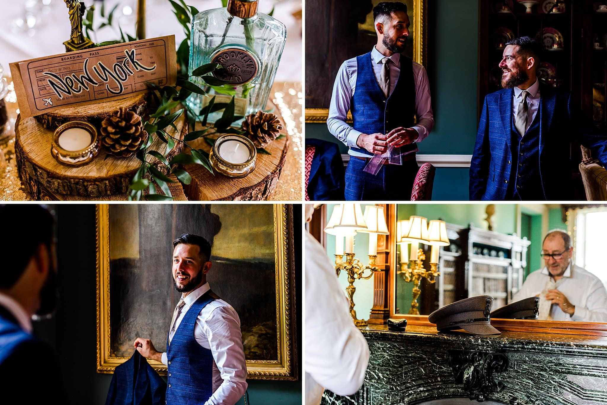Groom gets ready for his wedding at Prestwold Hall