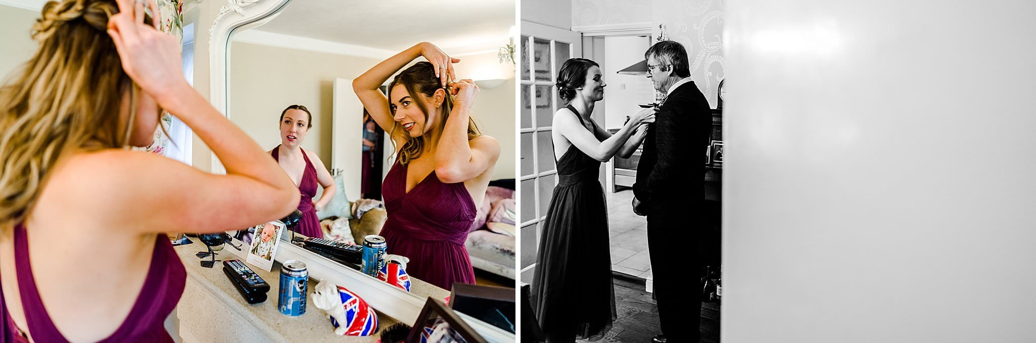 Bridesmaid fixes her hair in the mirror whilst another bridesmaid sorts bride's father's button hole