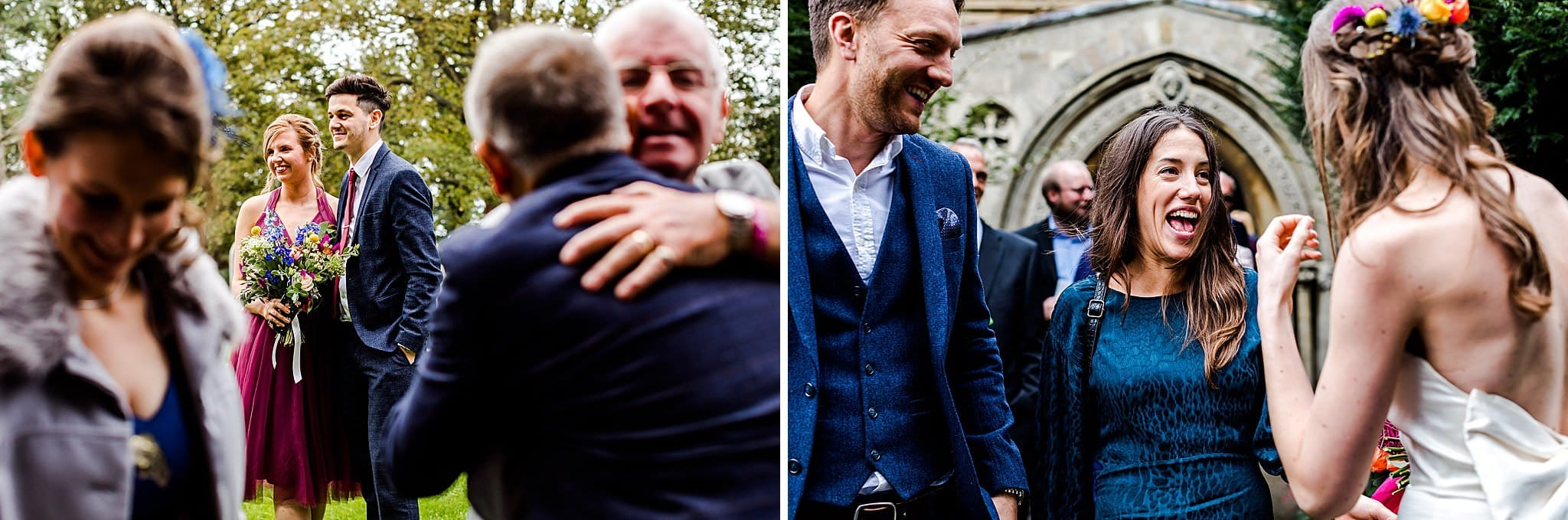Candid photos of guests smiling and greeting each other at Sally & Ben's wedding