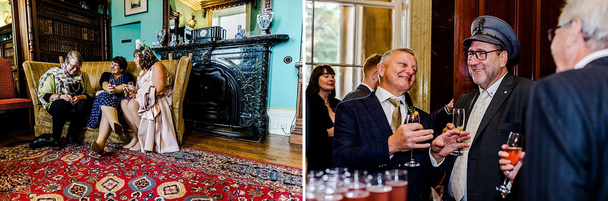 Photos of wedding guests relaxing and sharing jokes at Prestwold Hall