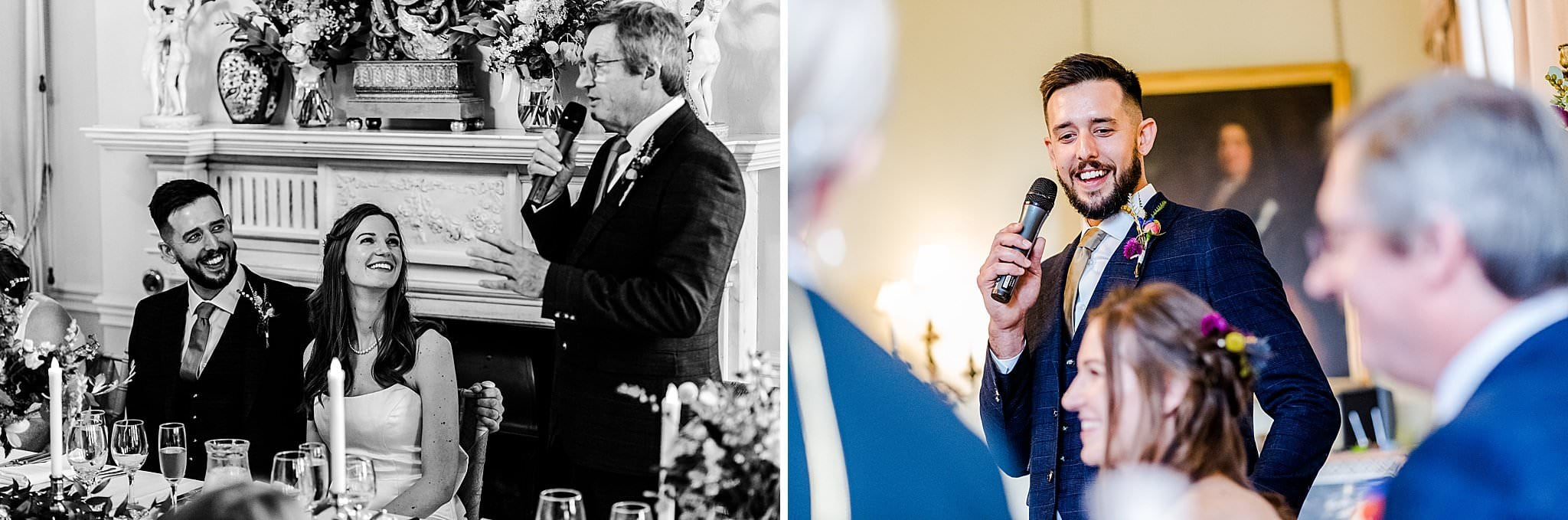 Wedding day speeches by the groom and bride's father at Prestwold Hall