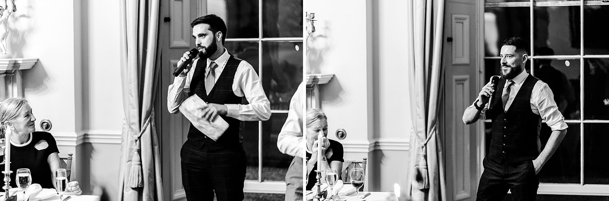 Best men giving their speeches at a Prestwold Hall wedding