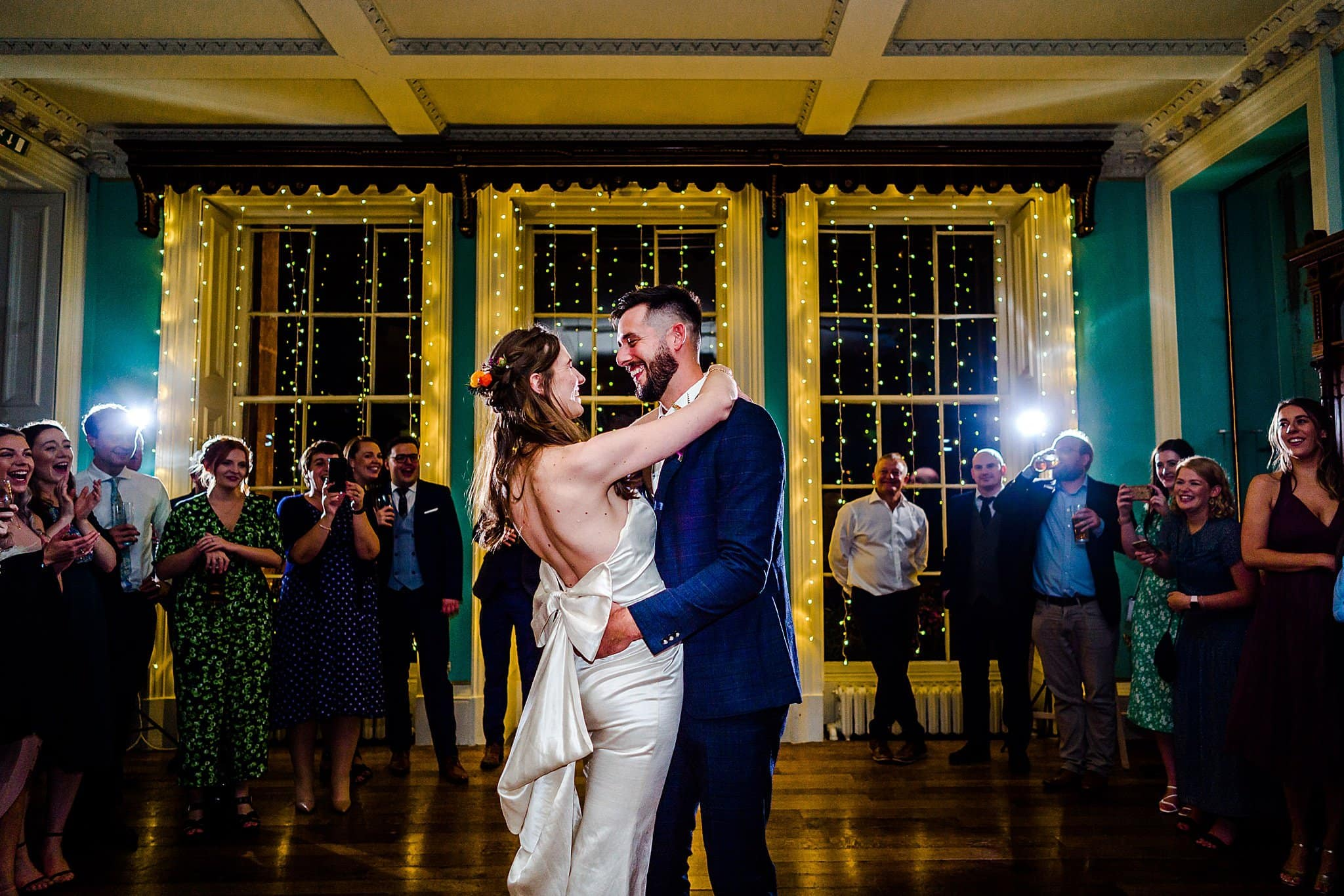 Bride and groom perform their first dance together at Prestwold Hall